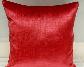 Vermilion Color Velvet Pillow Cover Pillow Velvet Vermilion Color Pillow Designer Pillow Velvet Pillows Velvet Cushion Cover Vermilion Color