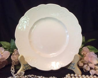 "Alfred Meakin LTD, Royal semi-Porcelain, Dessert Plate, White with Raised ""Scroll & Button"" Pattern around Scalloped Edge"