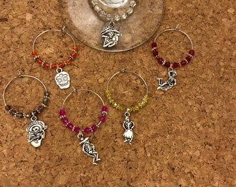 Day of the DeadThemed Wine Charm Markers 6 markers