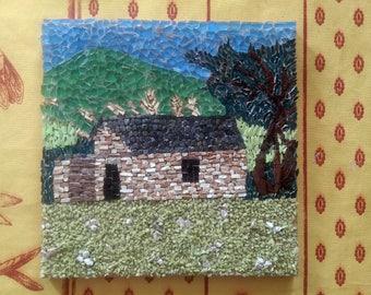 painting micro-mosaic d a barn.