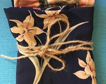Five Vintage Floral Fabric Pieces