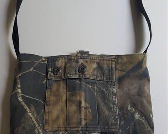 Upcycled Camouflage Hand Bag/ shoulder strap purse