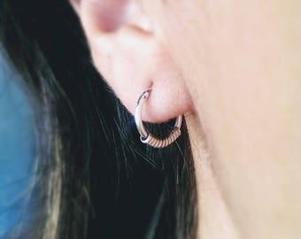 Sterling silver hoop earring - silver hoop earring - Bali hoop earring - small hoop earring - everyday earring- hypoallergenic hoop earring