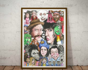 The Mighty Boosh, Eco Friendly, Cult caricatures A3 Print/Poster