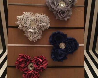 Triple Shabby Flower Rhinestone Headband