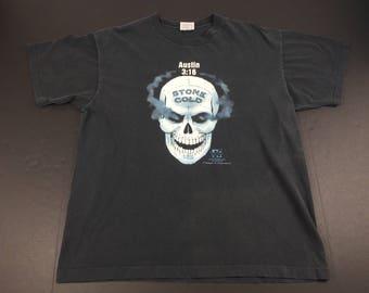 Vintage 90s Stone Cold steve austin 3:16 skull t-shirt mens XL WWF wrestling