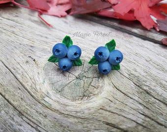 Blueberry Earrings Stud - Blue Stud Earrings - Eco rustic wedding - Cocktail earrings - woodland earrings - tiny studs - blue studs