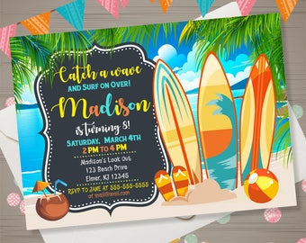 BEACH PARTY invitation Surfboard Birthday Invitation Tropical Hawaiian Invitation Summer Birthday Party Surfing Invitation Surfs Up Invite