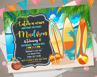 BEACH PARTY invitation Surfboard Birthday Invitation Tropical Hawaiian Invitation Summer Birthday Party Surfing Invitation Surfs Up Invite