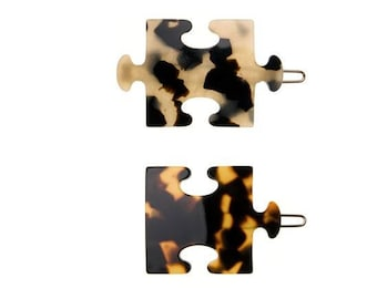 """Turtle Story 2x Puzzle Piece Premium Cellulose Acetate (""""Turtle shell"""") Handmade French Hair Clips (Tokyo Dark/ Tokyo Light)"""