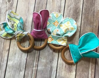 Teething Ring | Bunny Ear Teether | Diaper Bag Necessity | Baby Shower Gift | New Baby