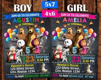 Masha and the Bear Birthday Invitation, Masha and the Bear Party Invitation, Masha and the Bear Birthday, Masha Birthday.