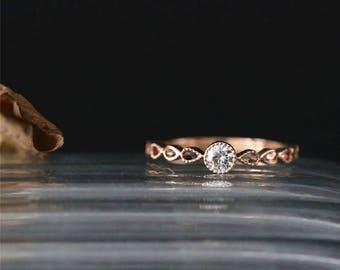 14K Rose Gold Moissanite Engagement Ring 3.5mm Round Cut Forever Classic Moissanite Ring Art Deco Milgrain Bezel Ring Vintage Bridal Ring