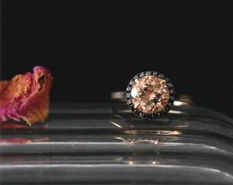 Natural 8mm Round Cut Peach Morganite Ring Gemstone Bridal Ring Black Diamonds Halo Ring Stackable 14K Rose Gold Morganite Engagement Ring