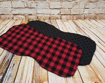 Cotton Flannel and Minky Dot Burp Cloth in Red Buffalo Plaid