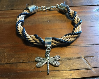 Blue and Tan Kumihimo Bracelet with Dragonfly Charm