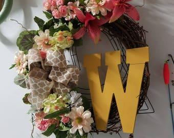 Monogrammed floral Wreath
