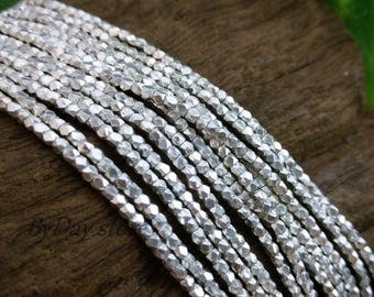 Handmade Silver,2mm Tiny Square Faceted Plain Beads,14 inch long,approx:200 pcs.