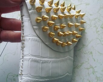 Studded White Crocodile Vegan Leather Pouch