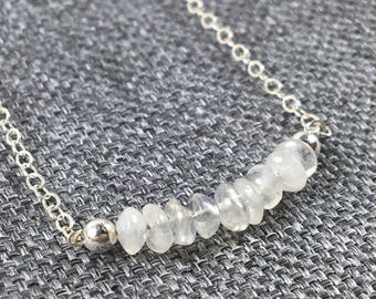 Moonstone Gems Bead Bar and Sterling Silver Necklace