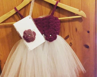 SALE 20% OFF Beautiful Elegant Crocheted Tutu Outfit Set Headband, Wand and bag Special Occasion Wedding Photo prop Birthday Princess