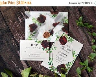 10OFF Printable Wedding Invite, Gold and Marsala Wedding Invitations, Floral Watercolor Invites