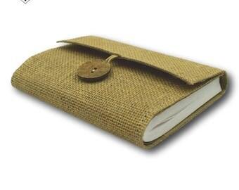 Brown Journal - Burlap Jute Cover with Inside Keepsake Pocket by MyPapermake