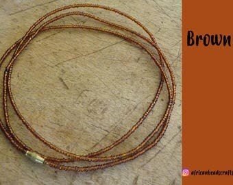 Brown - Waist Beads - Belly Chain - Belly Beads - African Waist Beads