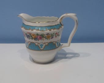 Crown Staffordshire fine bone china milk jug, vintage blue with pretty flowers jug made in England, afternoon tea,