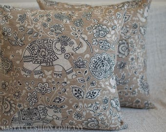 """Oriental Style Elephant Cushion Cover in Linen and Grey Colours. Handmade 100% Cotton 17"""" x 17"""" Square pillowcase. Batik style design."""