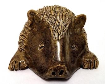 Unique vintage Yare design pottery hedgehog, vintage studio ware hedgehog, hedgehog ornament, hedgehog paperweight
