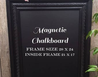 Vintage Black Ornate Framed Magnetic Chalkboard