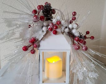 Christmas lantern, Xmas decor, floral lantern, Christmas decoration, white sparkle decor, whimsical Xmas decor