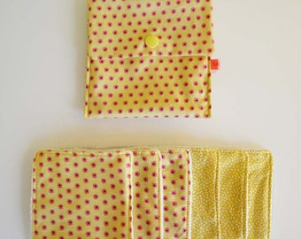 """Wipes cleansing washable micro-eponge in organic tencel """"flowers"""" pink and yellow handkerchief"""
