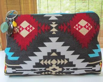 Large Dark Grey Southwestern Style Zipper Envelope Clutch, Cosmetic/Makeup Bag, Travel Bag, Pouch, Evening Purse