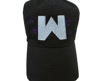 Black Wumbo Hat With Blue and Purple Embroidery