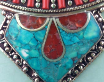 925 Sterling Silver Plated Coral Red Turquoise Nepali Necklace
