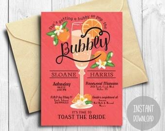 Bridal Shower Invitation INSTANT DOWNLOAD   Editable Bridal Shower Invite Template   champagne, oranges, bubbly   PDF