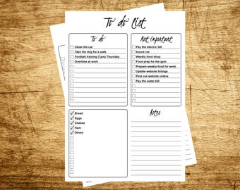 A5 to do list notepad