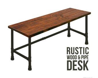 Rustic Desk, Pipe Desk, Industrial Style Desk, Rustic Wood, Urban Wood Desk, Steam Punk Desk, Office Desk, Computer Desk, Wood Desk