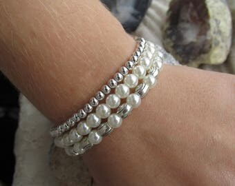 3 matching bracelets silver/pearl combination
