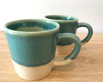Set of 2   Wheel thrown ceramic stoneware mug   FREE SHIPPING