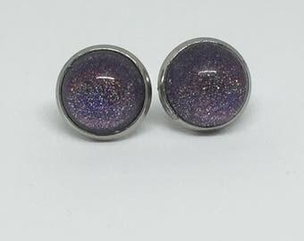 Holo purple earings