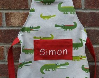 Crocodile print Apron, toddler to adult sized. Can be personalised.