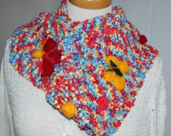 Red cotton for spring and summer scarf-snood
