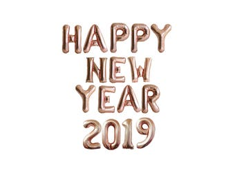 New Years Eve Decorations 2018 / New Years Banner / Rose Gold Balloons / Foil Letters Numbers - Happy New Year Sign  - new years eve party