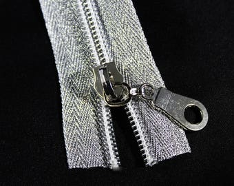 4 yds Metallic Silver Zipper by the yard with silver coil & 12 Zipper Pulls, #5 Nylon Coil Zipper Kit, Silver Zipper