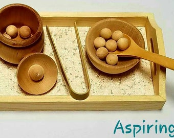 Montessori Transfer Work / Scooping / Spooning / Tonging / Counting / Fine-motor Skills / Wood Tray / Toddler / Montessori Life Skills
