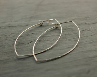 Oversize hammered silver marquise style hoop earrings