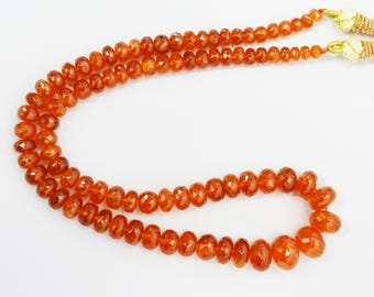 AAA Quality Natural Spessartine Garnet Faceted Beads / Fanta Garnet Faceted Necklace / 4.5-11.0 mm / 16 inch